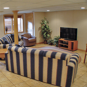 A Finished Basement Living Room Area in Doylestown, OH