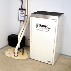 An ENERGY STAR® Rated basement dehumidifier installed in a home in Massillon